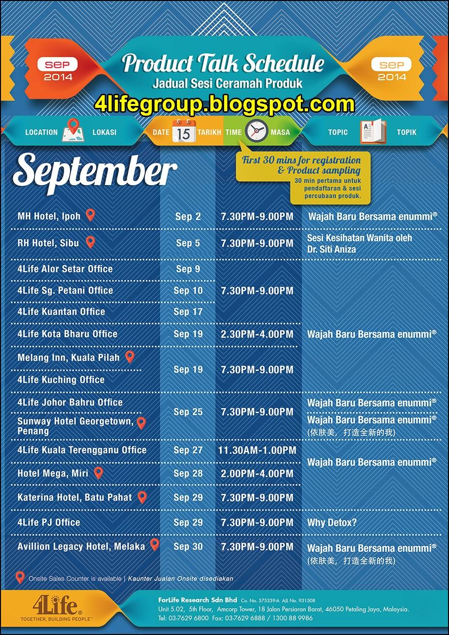 foto Jadual Ceramah Produk 4Life untuk bulan September 2014