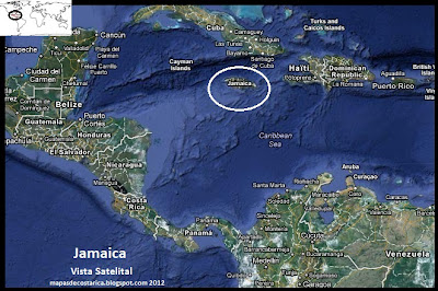 Mapa de Jamaica en Centroamérica y El Caribe, Vista Satelital