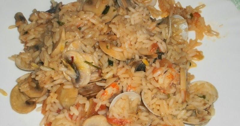 Pan frito o reban s arroz con almejas gambas y champi ones - Arroz con gambas y almejas ...