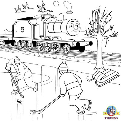 White Christmas holiday picture Thomas and James the train winter scenery graphics for printing out