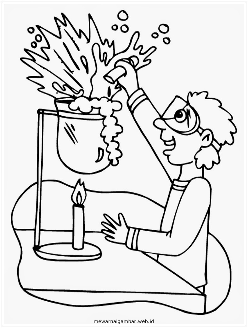 gambar sketsa ilmuwan hitam putih