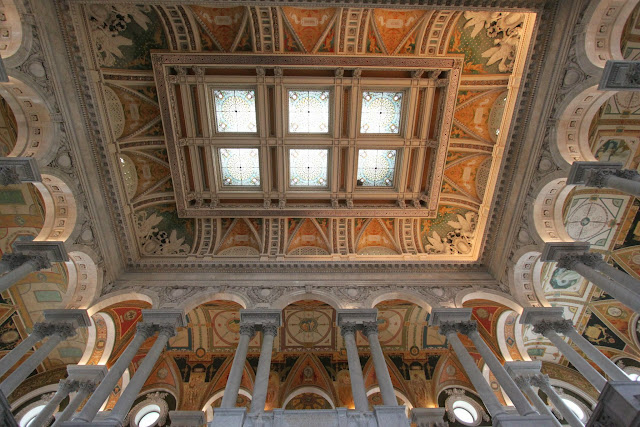 The painting and structure of the ceiling in Library of Congress, Thomas Jefferson Building in Washington DC, USA