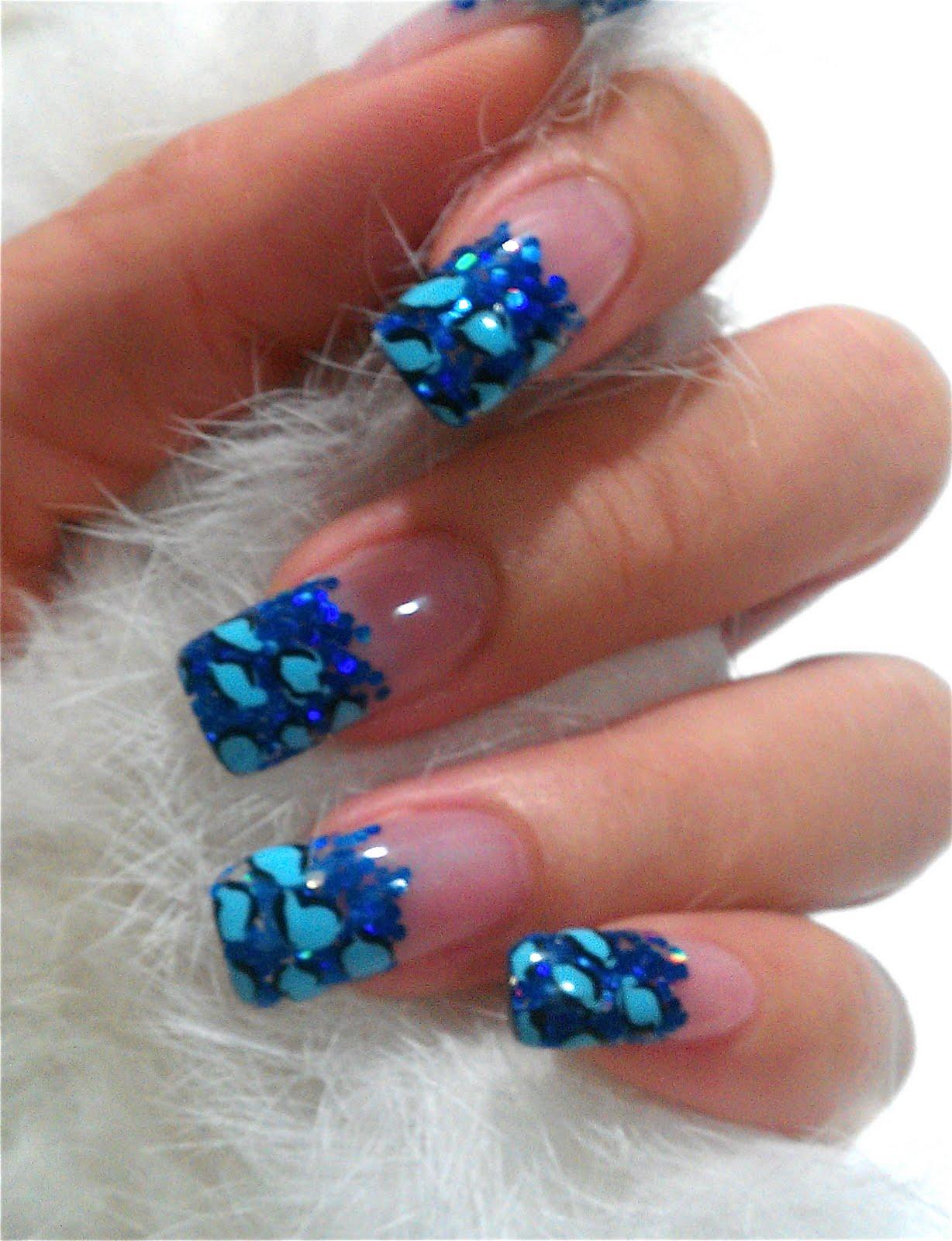 Notd blue glitter leopard print gel nails