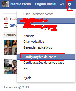 Facebook - Configurações da Conta
