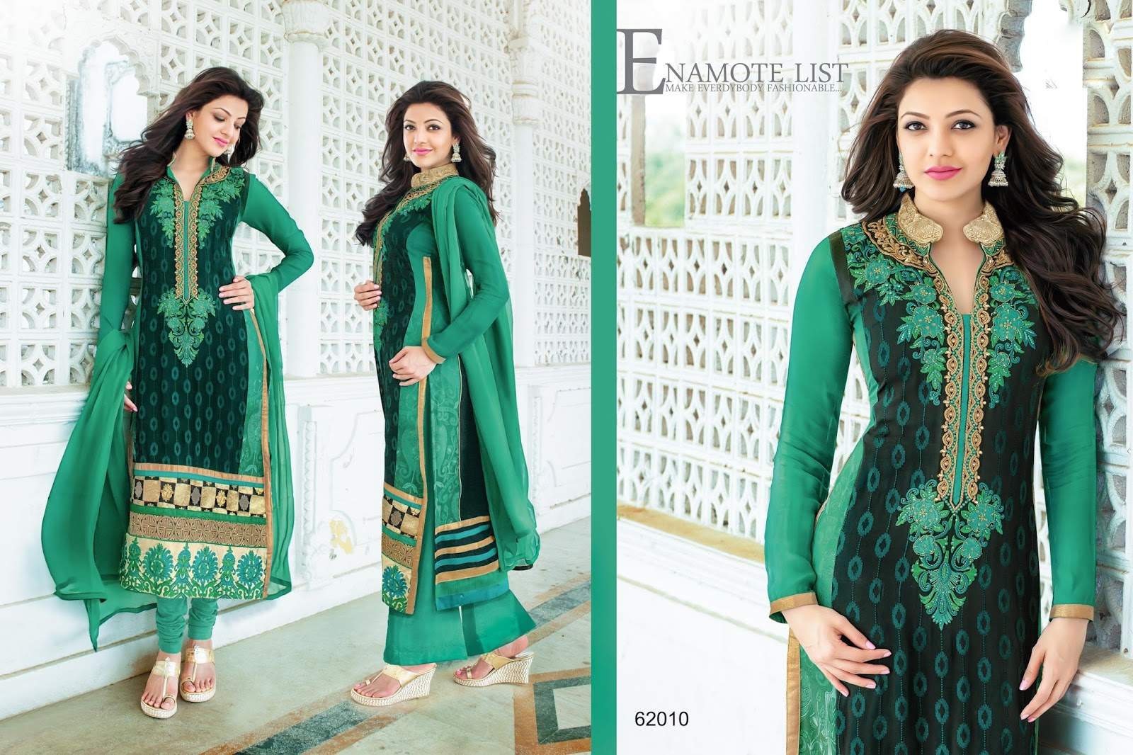 Kajal Agarwal Stylish Straight Embroidery Salwar Kameez ...