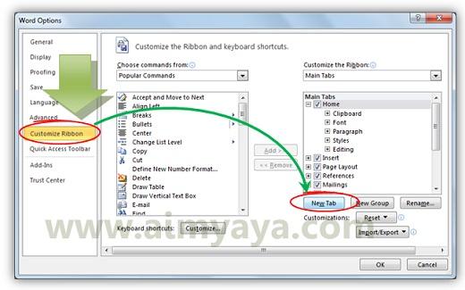 Gambar: Membuat atau menambahkan sebuah tab ribbon baru di Microsoft Word 2010