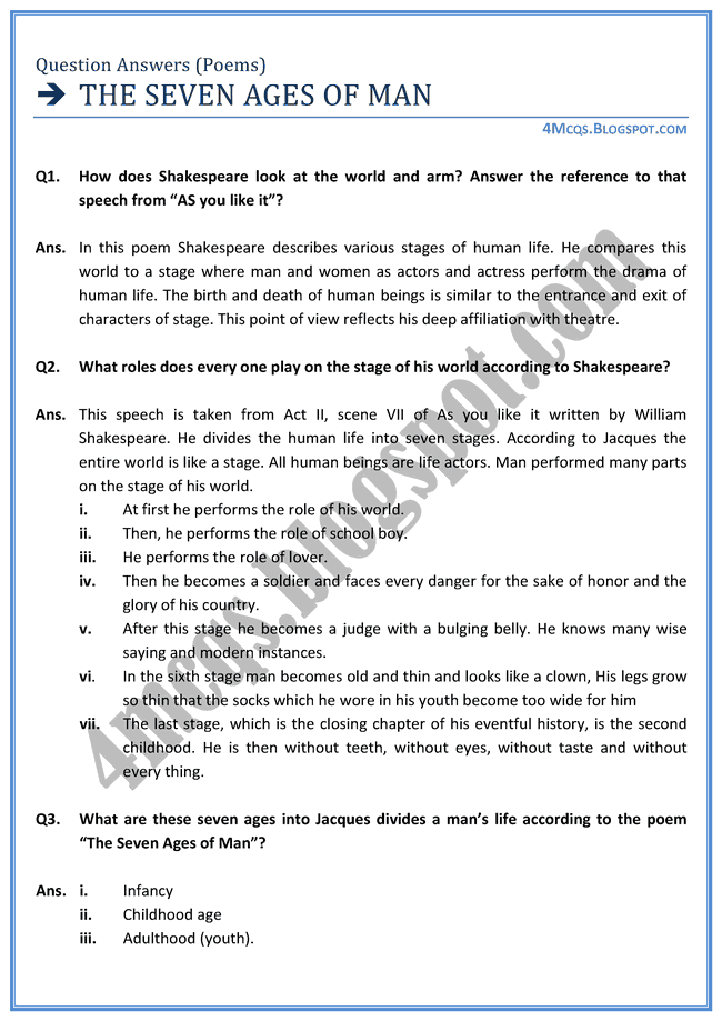 the seven ages of man analysis essay New topic poem the seven ages of man new topic seven ages of man poem summary new topic seven ages of man critical appreciation new topic man of earth poem analysis new topic island man poem.