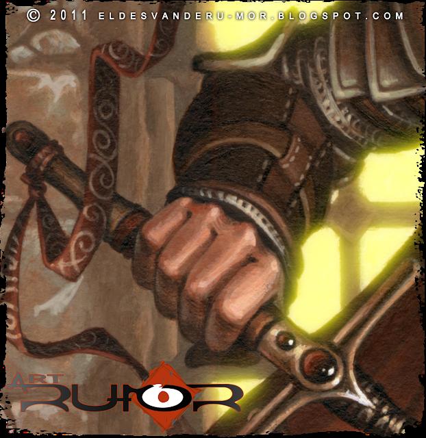 Un detalle del brazo de ilustración hecha por ªRU-MOR de personaje Oda para ÉPICA: Edades Oscuras, juego de cartas de fantasía medieval y rol. Acrílicos