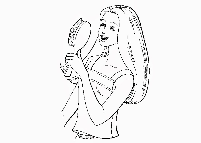 brushing hair coloring pages - photo#2