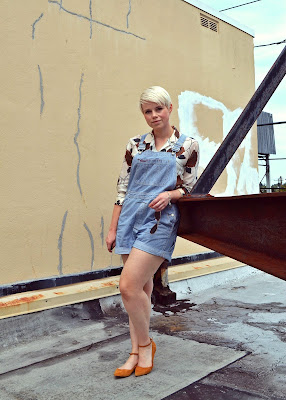 pattern mixing, overall shorts, summer, fashion, seattle, blonde, pixie cut
