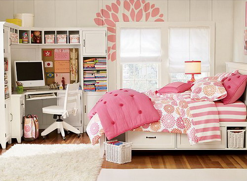 Awesome Interior Furniture Teenage Girls Bedroom Decor With Pink Linen