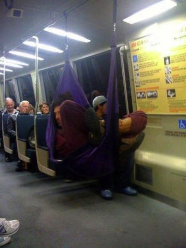 hammock on the subway
