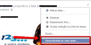 Passo 1 para remover vírus do Facebook: marcar como span
