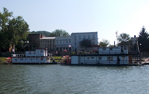 DRESDEN BELLE & SUNSHINE. 3rd paddlewheeler is hidden.  We rafted for a few hours.