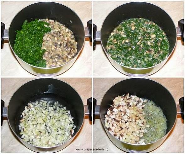 umplutura din spanac ceapa si ciuperci pentru rulada preparare, retete cu ciuperci, preparate din ciuperci, retete cu spanac, preparate din spanac, retete culinare de post,