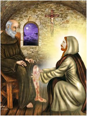 Jesus sanando la pierna con cancer a San Peregrino