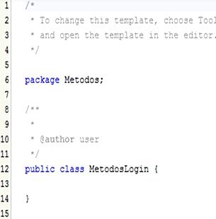 Clase Java creada en nuestro proyecto
