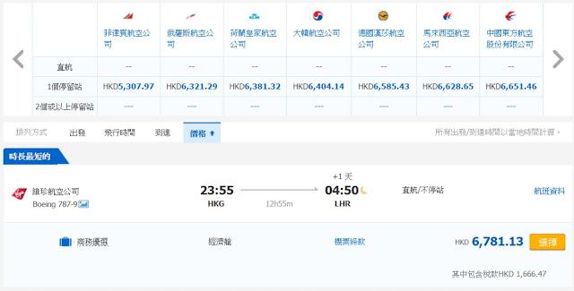 香港往來倫敦 HK$5,115起(連稅HK$6,781)