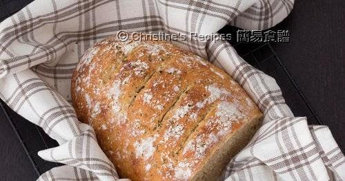 免揉香草麥包【省力健康麵包】No-Knead Herb Wheat Bread