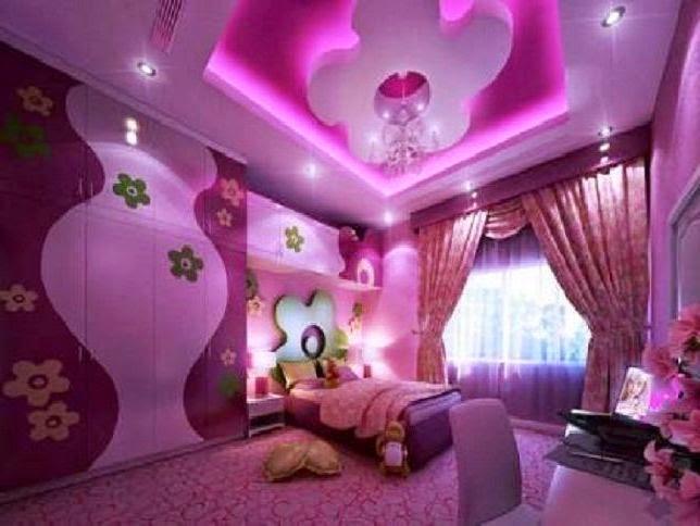 kamar tidur anak perempuan minimalis warna ungu