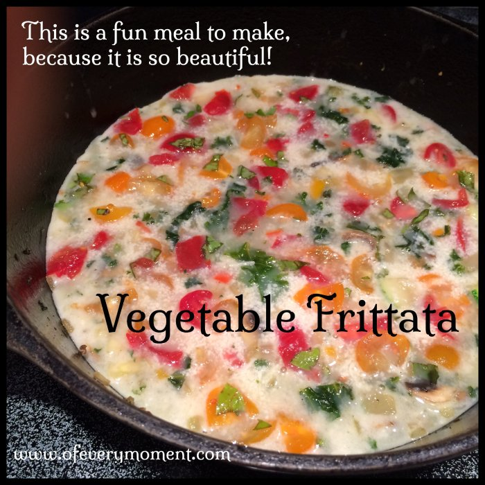 Vegetable frittata before the last sprinkle of cheese