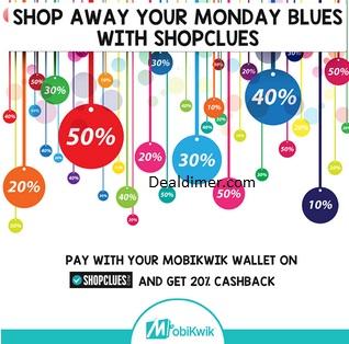 ShopClues 20% Cashback (no minimum purchase)