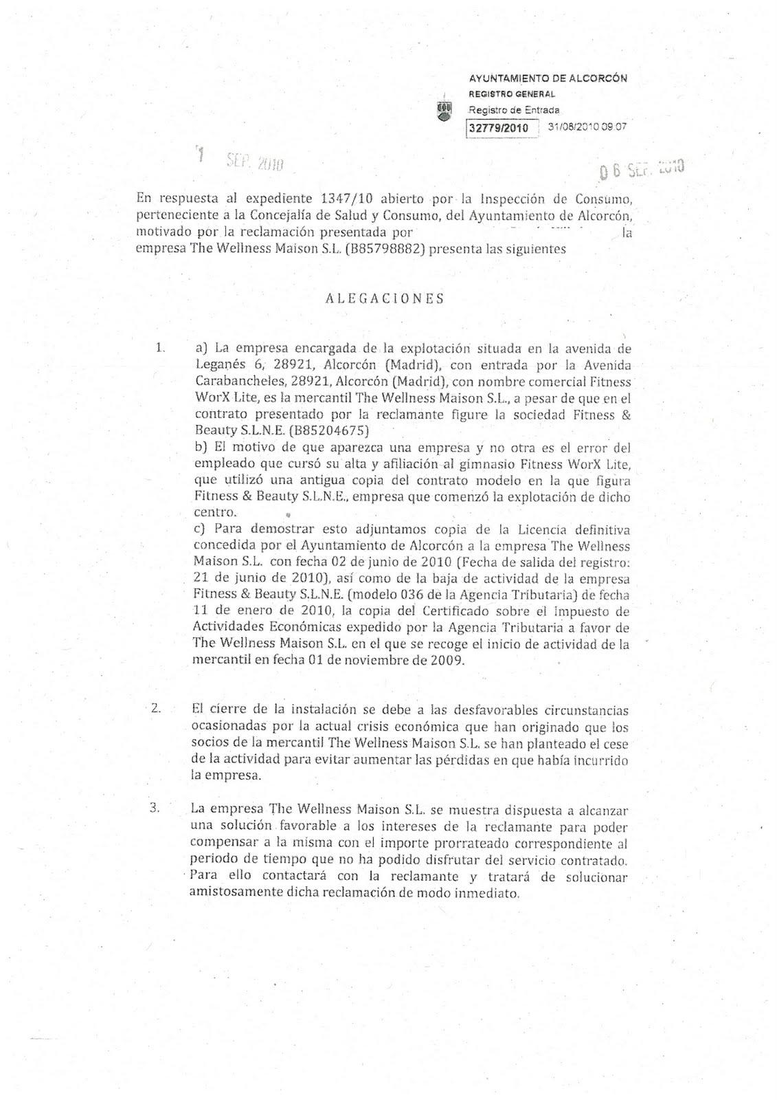 Los verdes grupo verde alcorc n denuncia a consumo for Gimnasio alcorcon