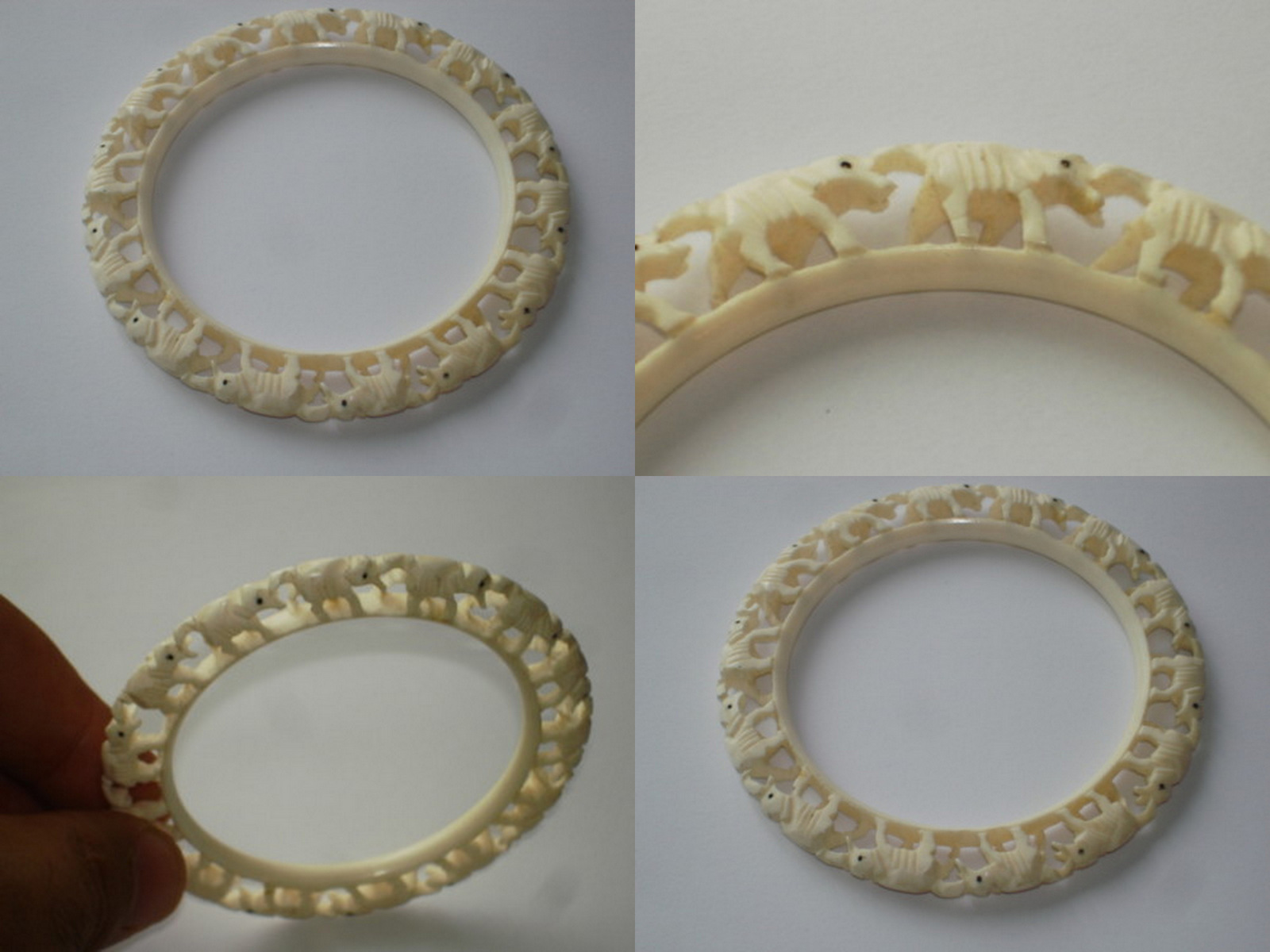 four part index bangles bangle genuine jewelry elephant hinged ban pre bracelet ivory