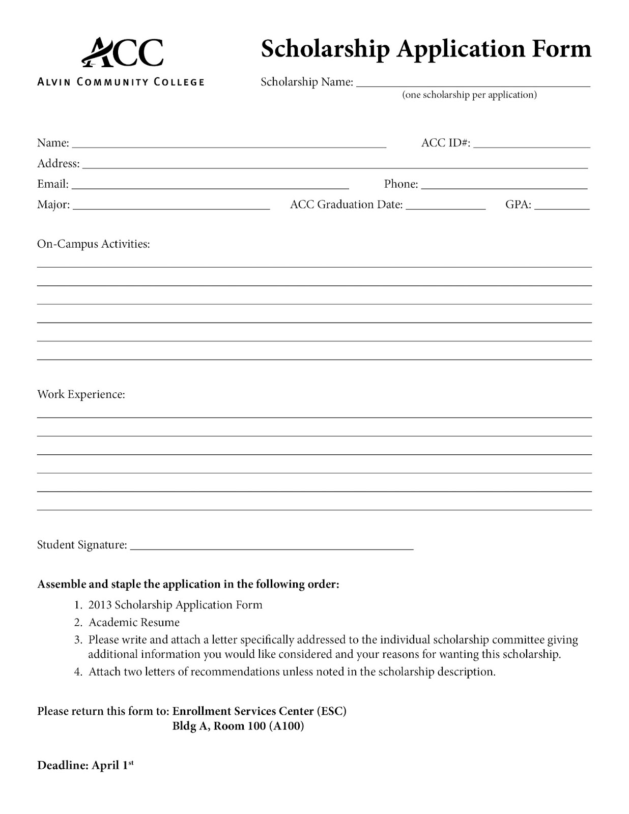 scholarship application form template quotes. Black Bedroom Furniture Sets. Home Design Ideas