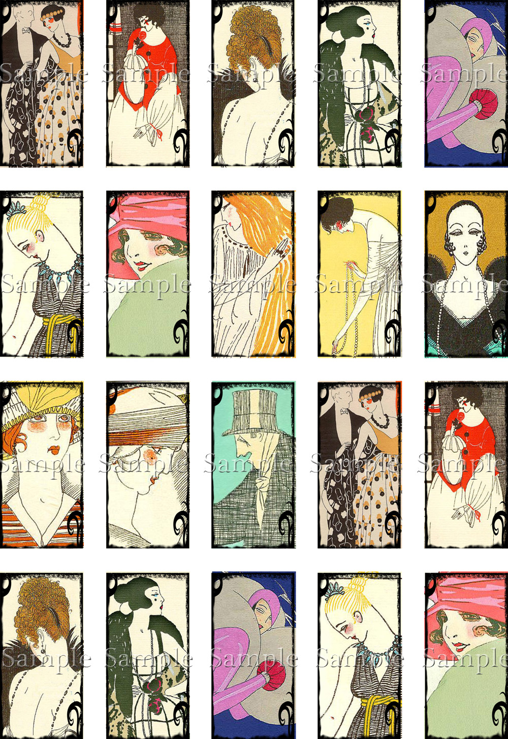 Vintage Art Deco Ladies Advertisement Domino 1x2 Collage Sheet The Graffical Muse