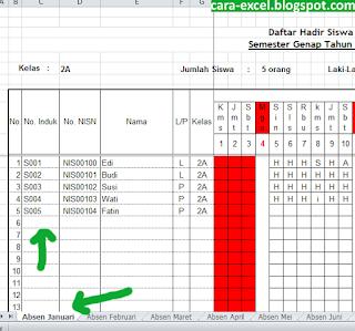 Cara Membuat Absensi karyawan di Excel