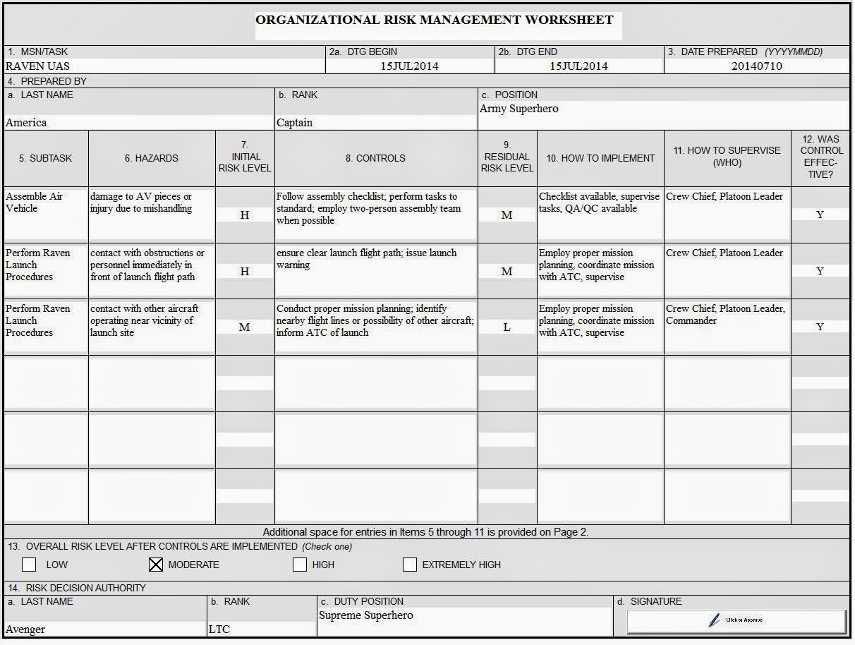 EWOB Managing Risks in sUAS Operations – Army Crm Worksheet