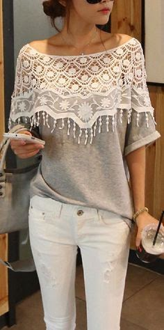 Cotton T-shirt With Collar Crochet Cape And White Jeans