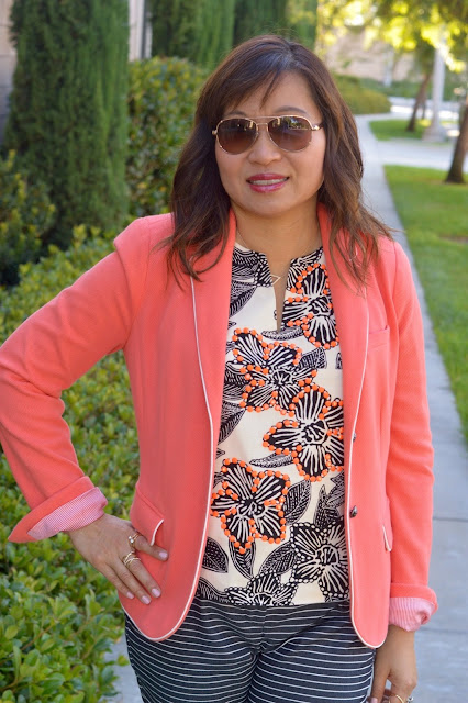 Pattern Mixing, Fashion Over 40, OC Blogger, Office style
