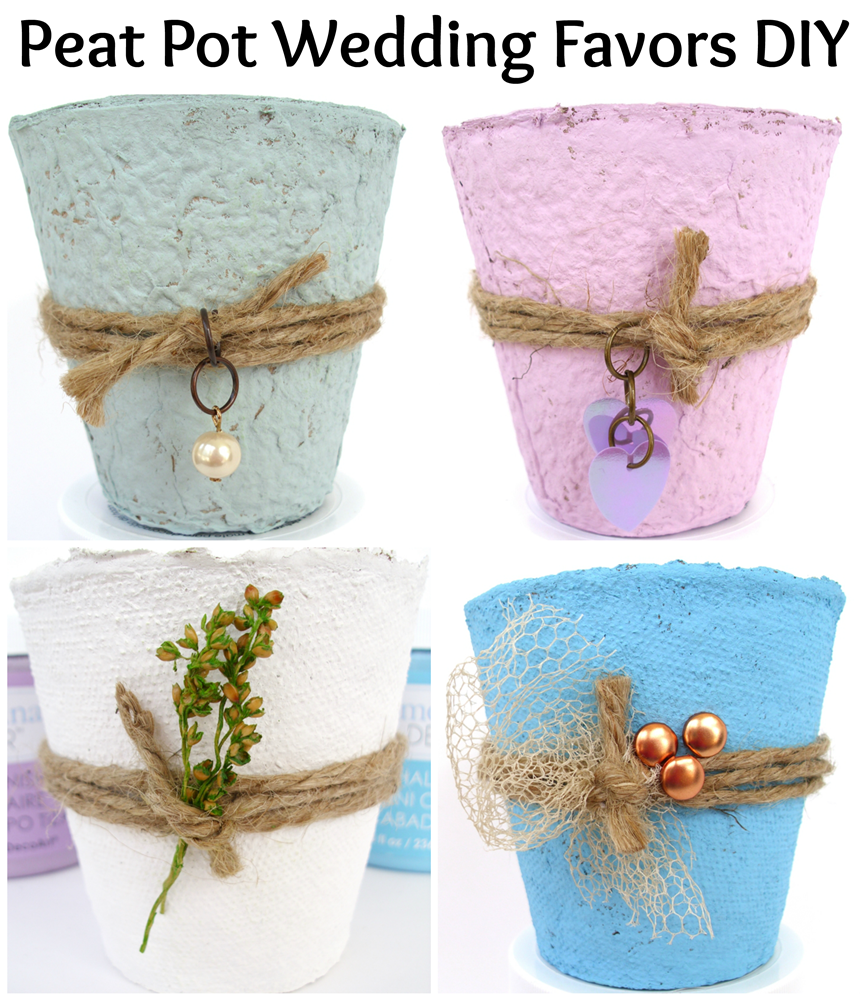 Peat Pot Wedding Favors DIY and video, using DecoArt Chalky Finish ...