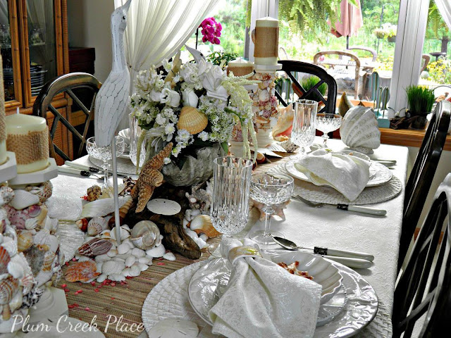 Plum Creek Place - Seashells and Roses Coastal Tablescape - DIY Shell Encrusted Candle Holders