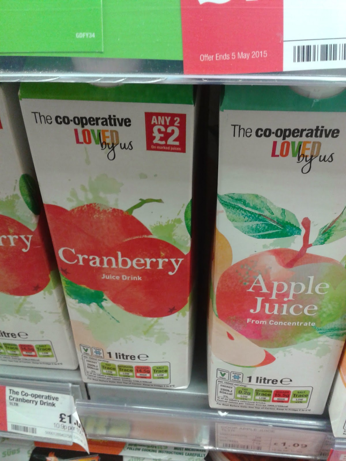 Cranberry juice drink and Apple juice