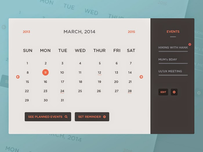Calendar UI & Events PSD