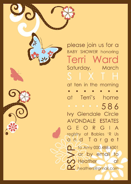 Flutter Butterfly Baby Shower Invitation