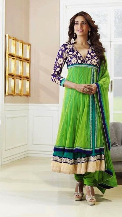 Bipasa Basu Long Anarkali Style Bollywood Salwar Suit