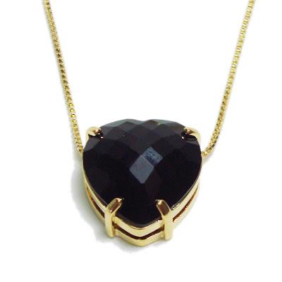 pingente coração pedra preta