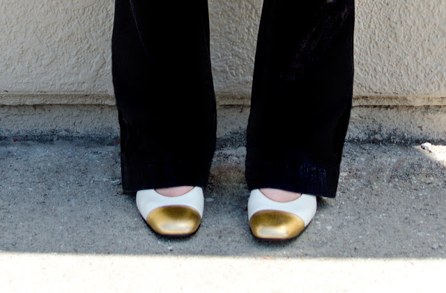 Black Free People Pull On Kick Flare Jeans Vintage White with Gold Tip Ballet Mens-inspired loafers