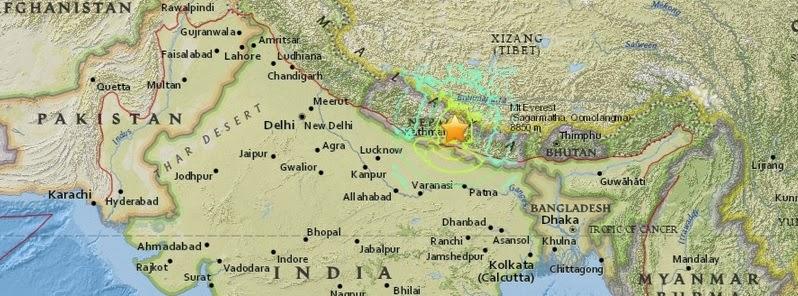 Epicentro terremoto Nepal