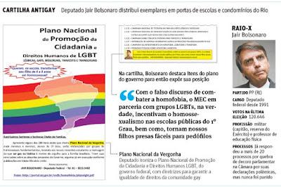 Deputado Jair Bolsonaro leva panfleto antigay a escolas do Rio de Janeiro
