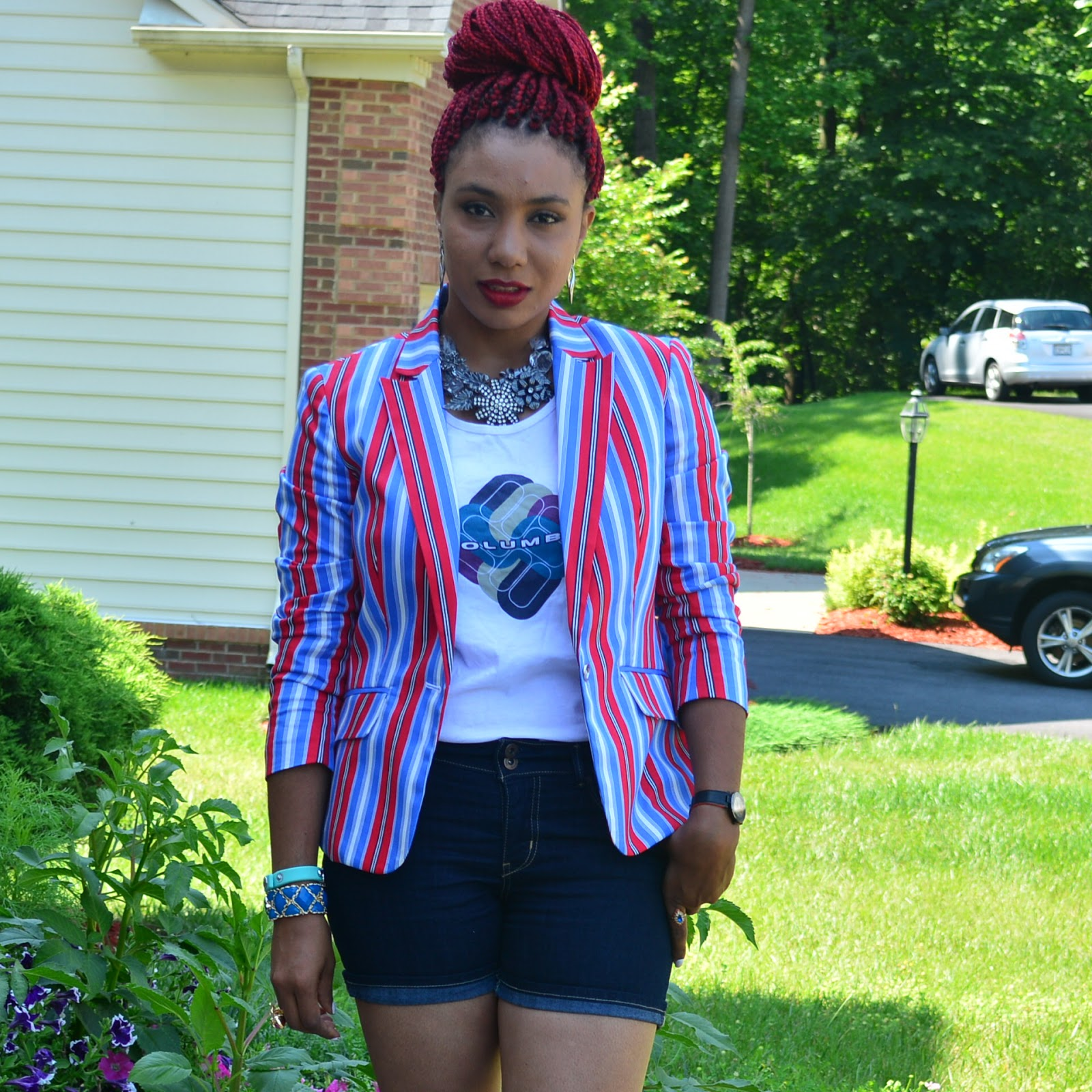 Milly styles : Striped Blazer + Jeans shorts