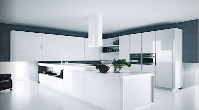 contemporary kitchen design -geometric design in white