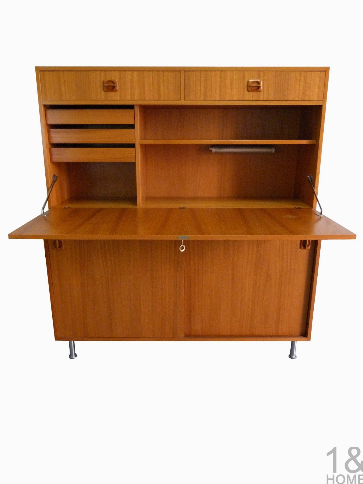 Danish Modern Teak Cabinet & Secretary Drop Desk