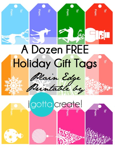A Dozen FREE #Holiday Gift Tags ~ So Merry & Bright! | #Printable at I Gotta Create!