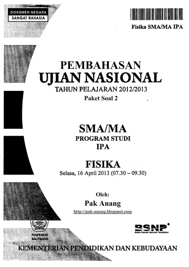 Pembahasan Soal Un Fisika Sma 2013 (Trik Superkilat) (Paket 2)