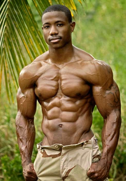 black man six pack abs